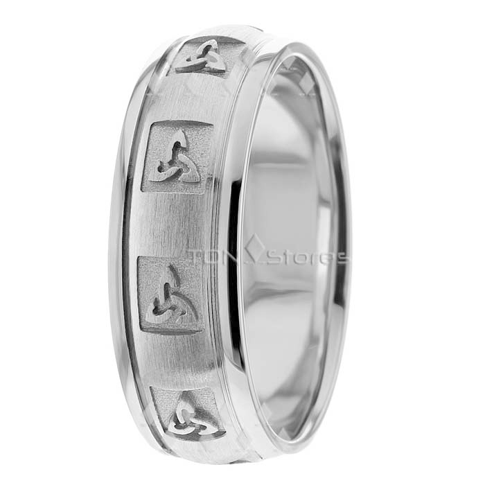 18K Solid Gold Celtic Wedding Band Mens Womens Celtic Irish Wedding Bands Rings