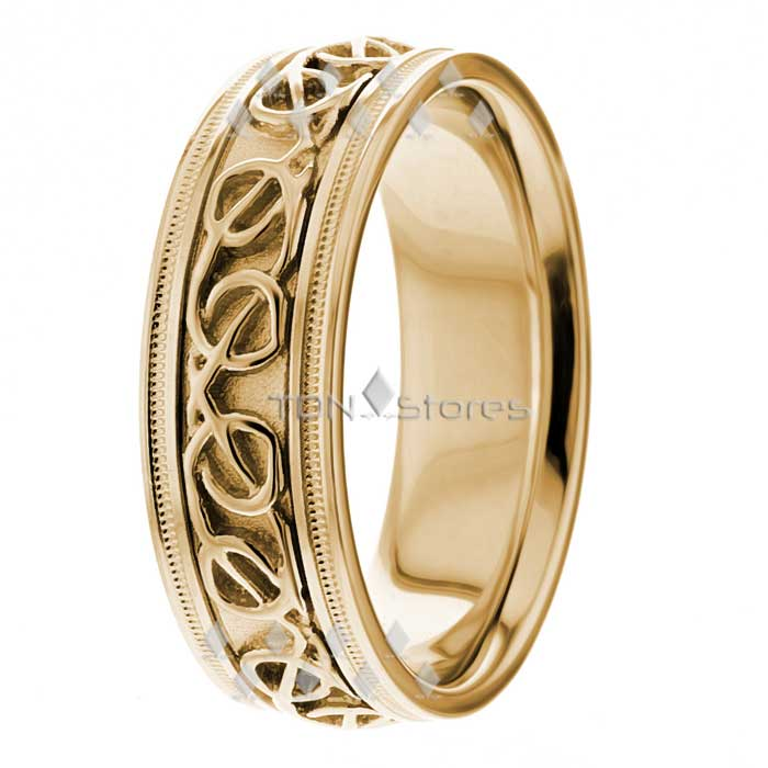 18k gold celtic knot wedding bands rings 8mm mens womens irish wedding band ring ebay. Black Bedroom Furniture Sets. Home Design Ideas