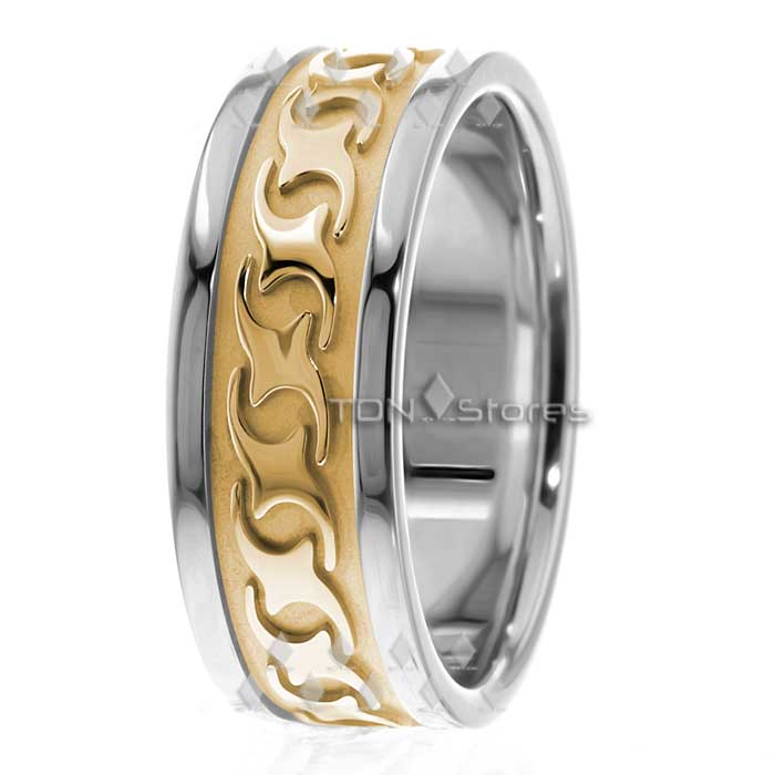 14K White Gold Mens Celtic Wedding Bands Rings Mens Black Celtic Wave Band Ring