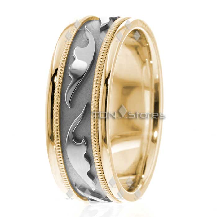 14K White Gold Mens Celtic Wedding Bands Rings Mens Celtic Milgrain Wedding Ring