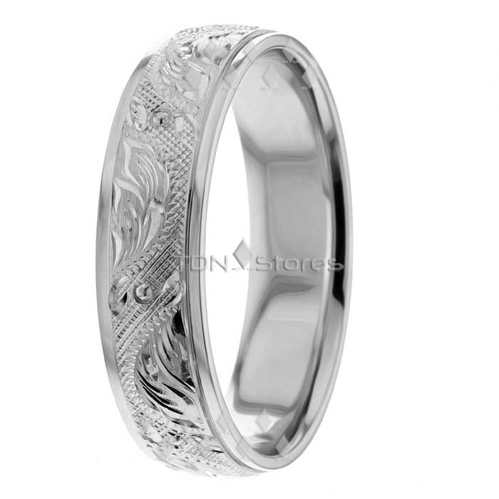 18K White Gold Mens Womens Vintage Carved Wedding Bands Rings fort Fit Band